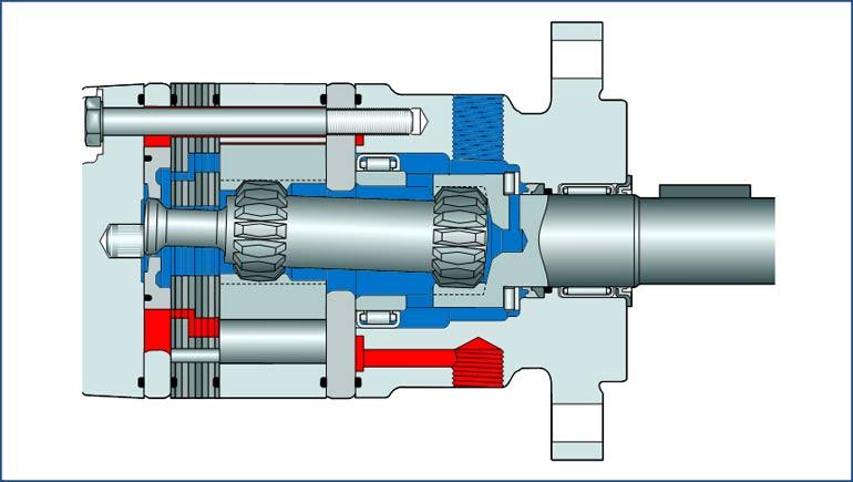 Percorso interno olio motore Parker TE